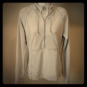 Athleta Grey/White Striped Pullover Hoodie - M